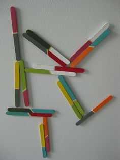 painted popsicle stick magnets