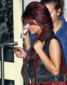 Burgundy and Dark Brown hair
