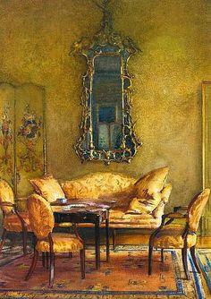 american painter, decor inspir, gay eleg, 1914 food, interiors, eleg interior, age paint, interior 1914, walter gay
