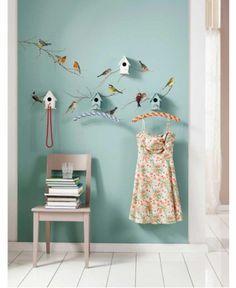 Hallway wallsticker idea, love the color too.