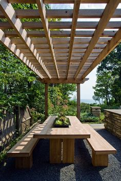 Room for everyone under the pergola in this lovely dining area. Dining Areas, Outdoor Seating, Picnic Tables, Wood Tables, Pergola, Landscape Designs, Garden, Dining Tables, Outdoor Eating