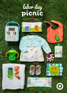 Before you head to the park, dress your baby girl in the adorable Cherokee 3-piece bird print dress set, and add shining silver shoes to her dancing feet. She'll also need a bag of goodies, including bib, bubbles, book, bowl, butternut squash purée…and a Crosley Songbird Radio to croon her to sleep at naptime.