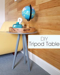 DIY Tripod Table. By: Jackie of Teal and Lime on www.4men1lady.com