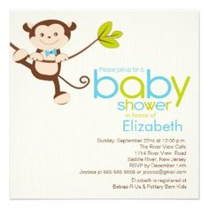 Monkey shower invitations with a great little bowtie!