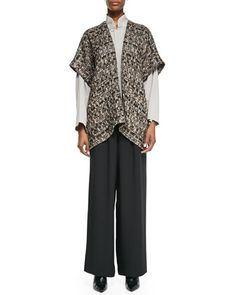 -53YZ eskandar Open Jacket, Imperial Top with Mandarin Collar & Flared Silk Trousers