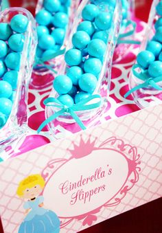 Disney Princess Party glass slippers filled with gumballs.