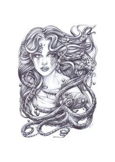 Mermaid Art. Mermaid and her Octopus Print  Tattoo Print  by OctaviaTattoo, $19.00 #mermaid #mermaidtattooo tattoo idea, octopus mermaid tattoo, tattoo prints, mermaid art, mermaid tattoos, art octopus, portrait tattoo, mermaid and octopus tattoo, octopus print