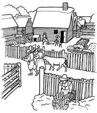 Plimoth Plantation and Wampanoag coloring pages