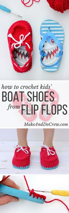 Turn cheap flip flops into crochet toddler slippers with this free pattern. The boat shoe style works well for girls and boys. Quick and fun project!