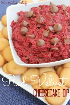 Red Velvet Cheesecake Dip from SixSistersStuff.Com! #dessert #dip #recipe