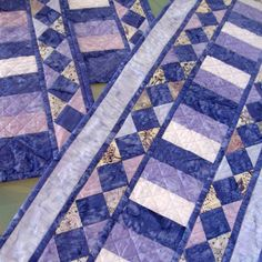 Batik Table Runner Quilted Table Runner Batik Quilted Placemats Purple Blue Lavender. $80.00, via Etsy.