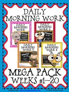 Daily Morning Work Mega Pack: All 4 Activity Pack Sets for Weeks 1 - 20. {Based On Common Core Standards} This is a combination of all 4 of my morning work activity packs which are: Daily Morning Work, Daily Morning Work 2, Daily Morning Work 3 and Daily Morning Work 4. You get 100 ready-to-use Morning Work Activity Sheets plus 100 teacher answer keys. This pack has enough morning activities for weeks 1 - 20 of school.