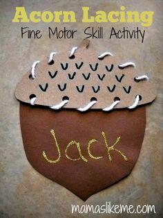 Acorn Lacing Activity - Mamas like Me #Fall #Preschool