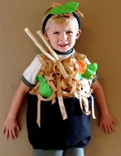Vegetarian noodle bowl costume.