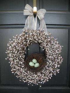 Robin's Egg Nest Berry Wreath by Daulhouseshop on Etsy, $68.00