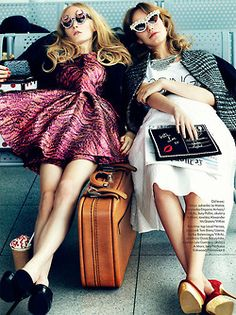 This made me laugh. Two girls waiting at the air port. The outfits are wrongs but the expressions are right ;) Airport Chic, Fashion, Dream, Sunglass, Dress, Girlfriend, Road Trips, Travel Accessories, Summer Fun