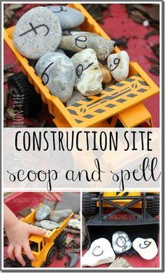 Boys will love learning to spell using trucks and rocks #preschool #alpahbet