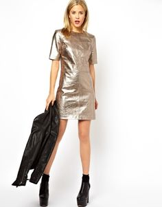 Gold Leather T-shirt Dress