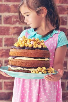 Peanut Butter and Chocolate Cake with Salted Caramel Popcorn!