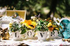 Flowers in cute mugs.  Sunflower