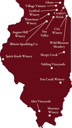 Here are 16 excellent wineries in Illinois! We have over 100 in the state! Vahling is great, missing Willow Ridge from the map