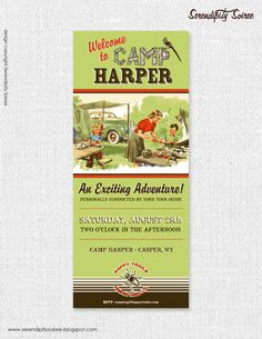 BOYS Vintage Camping Happy Trails  Custom Invitation by Serendipity Soiree - Camping Party