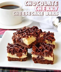 COOKIE MONTH RECIPE #14 Chocolate Cherry Cheesecake Bars - a scrumptious mix of chocolate shortbread crumble, creamy vanilla cheesecake and juicy cherries. Throw on a little chocolate drizzle too if you like. Freezes perfectly too!