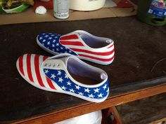 Hand painted american flag shoes