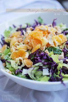 orange cashew salad with creamy orange dressing