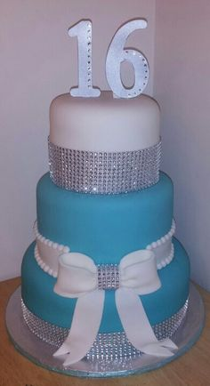 Blue silver rhinestone and bow sweet 16 cake