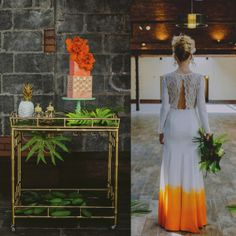 """A #SocietySocial justifies a #barcart as wedding decor then after """"I do!"""" she rolls her home with her new Mister ;) See more of this  unique and gorgeous retro tropical wedding!"""