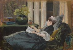 Louise Tiffany, Reading, 1888  Louis Comfort Tiffany (American, 1848–1933)  Pastel on buff-colored wove paper  20 1/2 x 30 1/4 in.