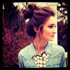 loose bun + denim + statement necklace