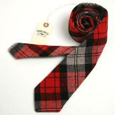 Vintage 1970s Wool Mountain Plaid Necktie - vintage ties handmade in the United States