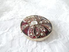 vintage compact mirror Monet enameled rhinestones by brixiana, $14.00
