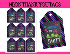 NEON Party  THANK You Tags Teen Party Printables by KROWNKREATIONS, $2.00