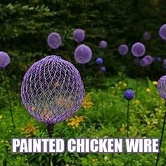 Painted chicken wire flowers