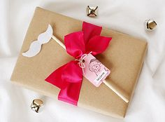 santa mustache xmas gift tags
