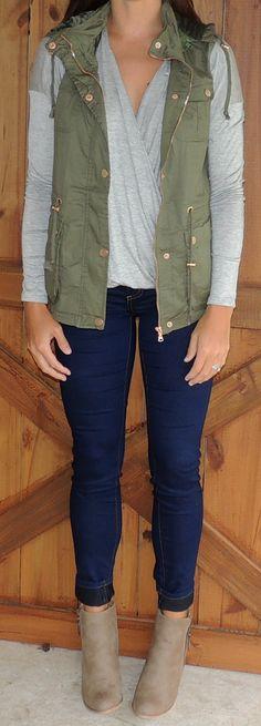 Olive Military Vest #ShopMCE