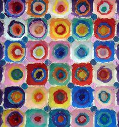 Kandinsky in an egg carton  #artiststudy #kandinsky #circles #shapes #art #preschool #preschoolart #prek