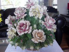 Capodimonte Floral Centerpieces   Vintage Large Capodimonte Flower Floral Centerpiece 7 Point Crown RARE