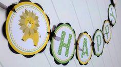 Jungle Theme Happy Birthday Door Hanger Party Sign - Monkey Lion Giraffe - King of the Jungle Decorations. $9.00