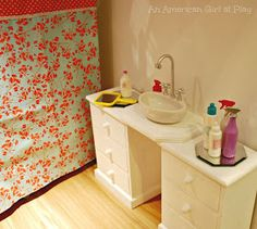 DIY American Girl Doll Bathroom with bathtub and sink! #agdoll #doll #dollbathroom #americangirldoll