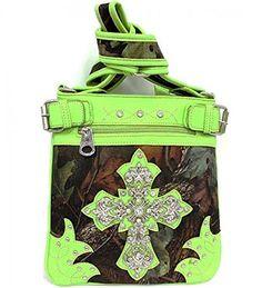 Lime Green Camouflage Cross Rhinestone Messenger Handbag In Stock $38