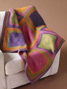 POP of Color Squared Afghan: free easy level pattern. squar afghan, color schemes, color combos, cabinet colors, afghan patterns, granny squares, crochet patterns, yarn, color squar