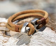 Natural Brown Leather Bracelet with Silver Plated Anchor Clasp
