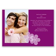 Floral Photo Wedding Invitation in Sangria by David's Bridal #weddings #beachweddings