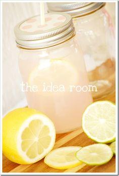 Party Drinks. ball jars, paper punch, parti drink, jar parti, pink lemonade, mason jars, mason jar party, jar lids, party drinks