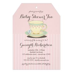 A lovely yellow, mint and pink teacup with a pretty china pattern is featured on this this chic and feminine invitation for a Baby Shower Tea. Sweet details include personalized teabag label peeking out of the teacup that you customize with the new mommy's initial. Tag shape mimics a teabag too and looks lovely with a pretty matching ribbon tied through the hole. Also available in blue for a baby boy. #tea #tea #party #shower #teacup #china #pink #chic #baby #shower #baby #shower #tea #baby ...