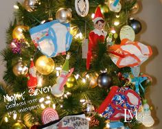 elf puts pants on the Christmas tree